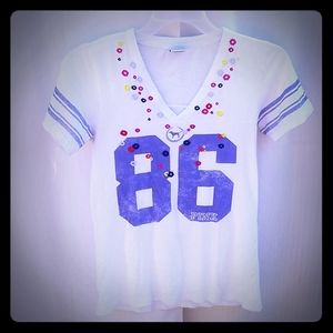 Pink by Victoria's Secret Football Inspired V-Neck